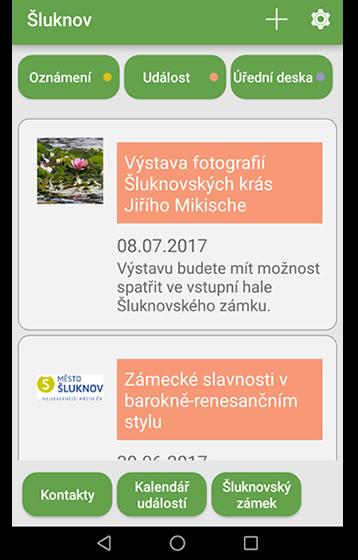 ukázka mobilní aplikace - Česká obec
